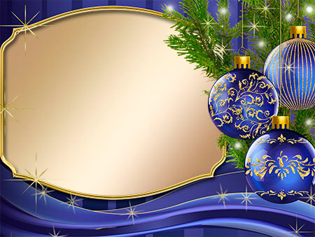 Новогодняя рамка не без; сними шарами мера PNG