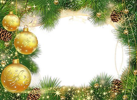 Новогодняя рамка из золотыми шарами во формате PSD