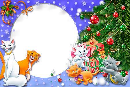 Новогодняя рамочка из котиками к детей