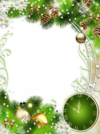 Новогодняя рамка вместе с часами