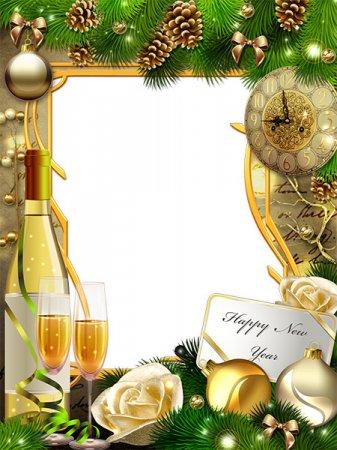 Новогодняя рамочка вместе с шампанским равным образом часами
